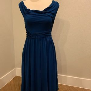 Anthropologie Deleta semi cas royal blue dress